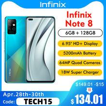 Versão global infinix nota 8 X692-K 6gb 128gb 6.95 hd hd + 20.5:9 64mp 18w carga rápida helio g80 octa núcleo 5200mah telefone móvel