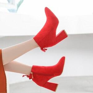 Image 5 - Lucyever 2019 jesienno zimowa moda damska klamra botki Casual sztuczny zamsz szpiczasty nosek grube szpilki buty imprezowe kobieta