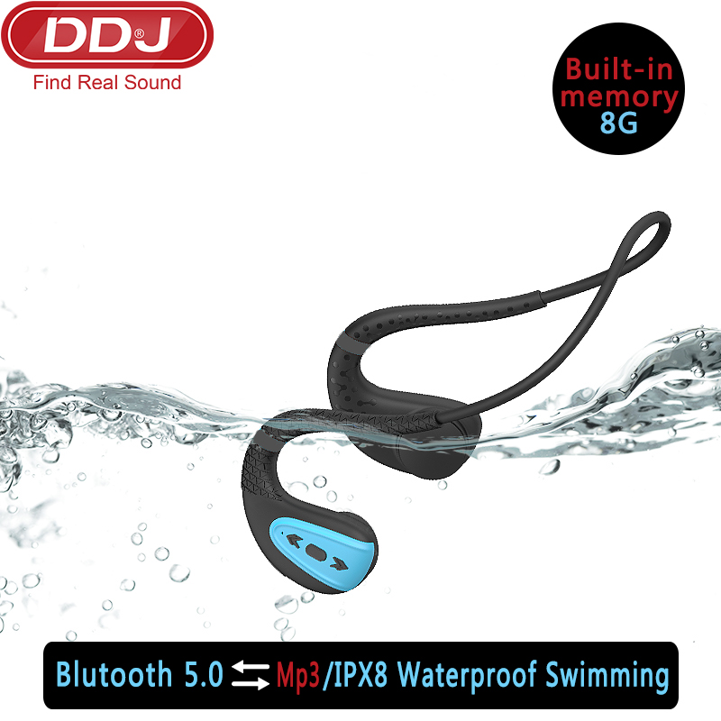 DDJ Q1 Outdoor IPX8 Waterproof Swimming  Wireless Bluetooth Headphone MP3 Player 8 Hours Sport Headset 8G Memory Diving Running