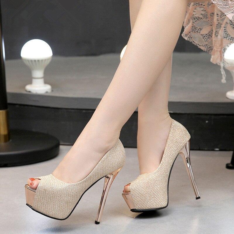 New Summer Platform High Heels Sandals Women Shoes Pumps High Heel Shoes Peep Toe  Pumps 12/14cm Black Gold Silver Gray Eu 34-39