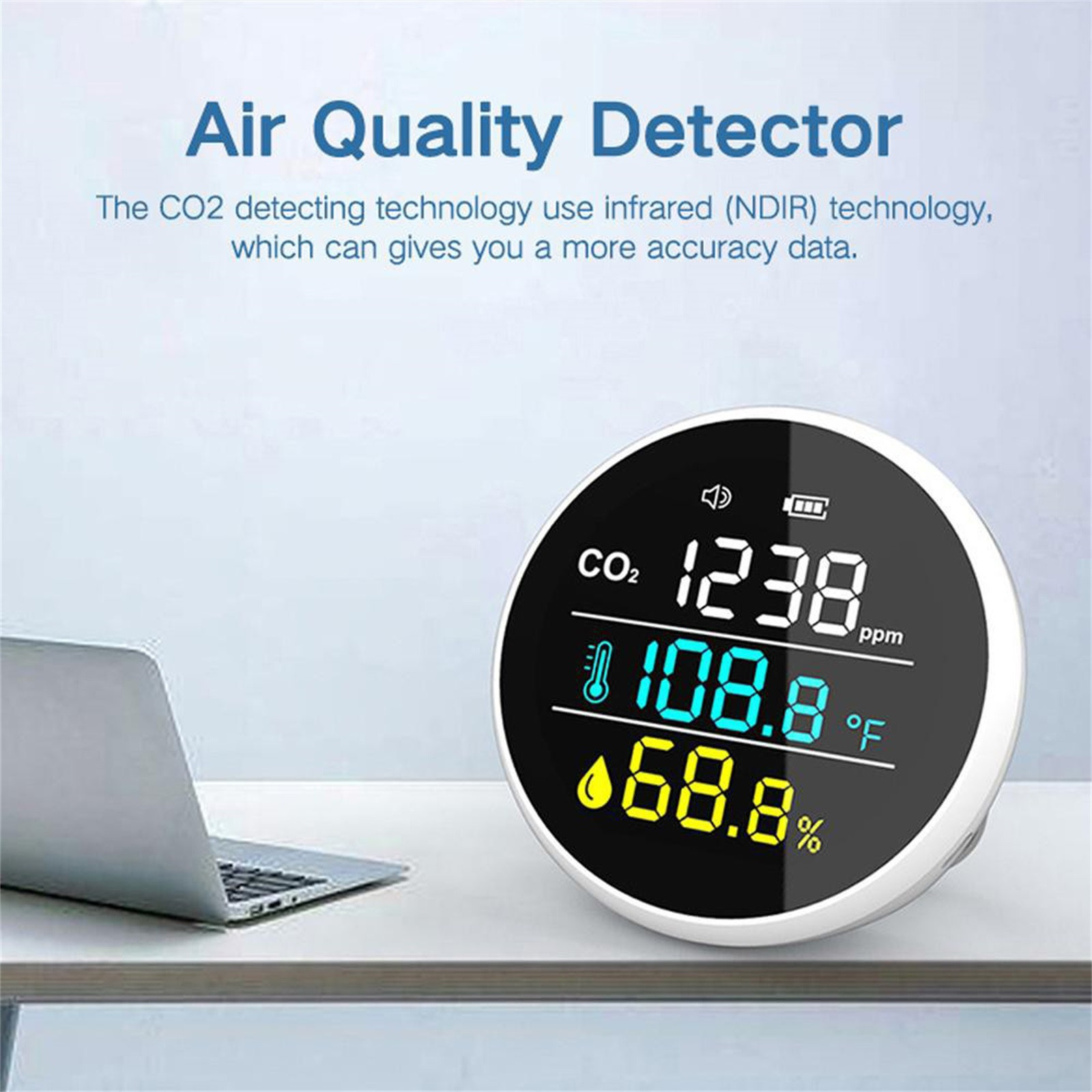 Portable Co2 Measuring Instrument Air Quality Detector High Precision Usb Powered Real Time Monitoring Carbon Dioxide Sensor
