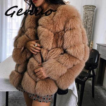Genuo New 2019 Autumn Winter New Faux Fur Coat Long Section Stitching Fox Fur Coat Large Size Coat duoupa 2019 new fashion faux fur grain velvet coat coat long loose fur one coat faux fur large size women s fur windbreaker jack