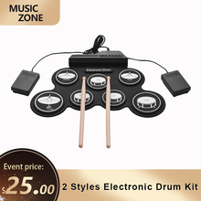 Drum-Pad Foot-Pedals Drumsticks Electronic-Drum-Kit Compact-Size Silicon Roll-Up Digital