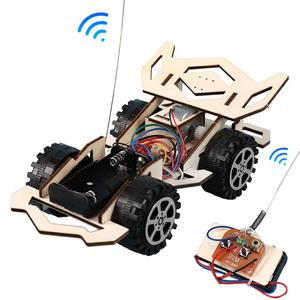 Kid Wooden DIY Assembly 4-CH Electric RC Racing Car Model Science Experiment Toy Interesting DIY Assembly RC Car Model gifts