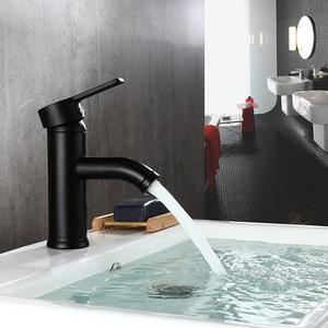 Image 3 - 스테인레스 스틸 싱글 핸들 욕실 분지의 수도꼭지 콜드/핫 믹서 분지 싱크 탭 블랙 욕실 수도꼭지 욕실 악세사리