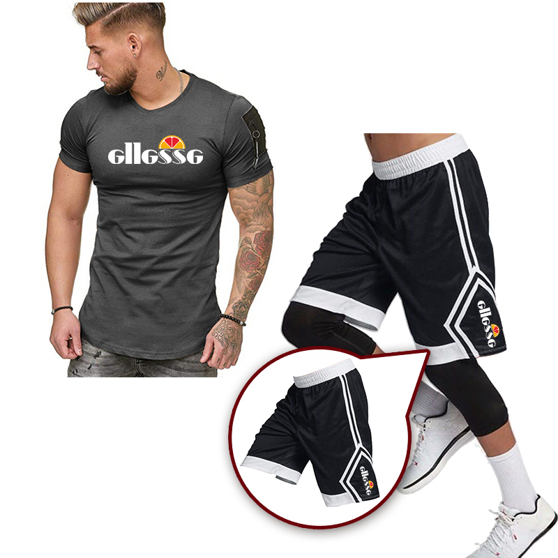 2020 Summer Fashion New Hot Sale Men's Sets Cotton T Shirts+shorts Two Pieces Sets Brand Tracksuit Male O-Neck Solid Sportswear