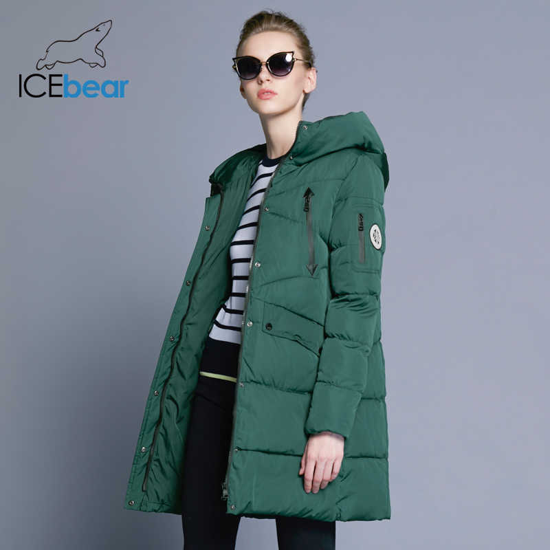 ICEbear 2019 100% Polyester Soft Fabric Bio Down Five Colors Hooded Coat Woman Clothes Winter Jacket With Pockets 16G6155D
