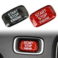 Car Engine Start Stop Button Sticker Decoration For Volvo V40 V60 S60L S60 XC60 S80L Red/Black Real Carbon Fiber