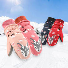 Cute Cartoon Snowflake ełk Outdoor Sport rękawice narciarskie dla 6-10 lat dzieci Winter Velvet Warm Waterproof Glove tanie tanio Olsen Twins Unisex Koral polar Rękawiczki Nadgarstek Moda CJ0084