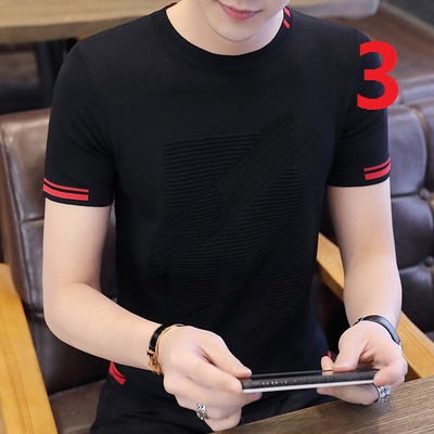 Summer short-sleeved t-shirt men's trend Korean version of the slim stand-up collar cotton personality