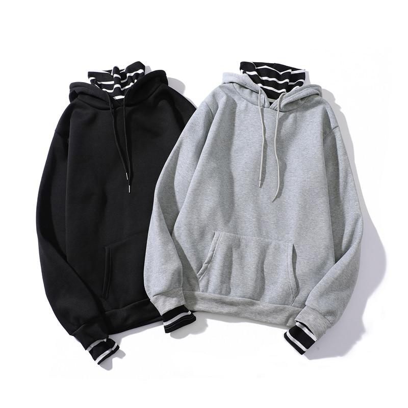 Autumn Winter Striped Turtleneck Harajuku Hoodie Oversized Fashion Teen Brief Sweatshirt Hip Hop Warm Long Balck Sleeve Clothes