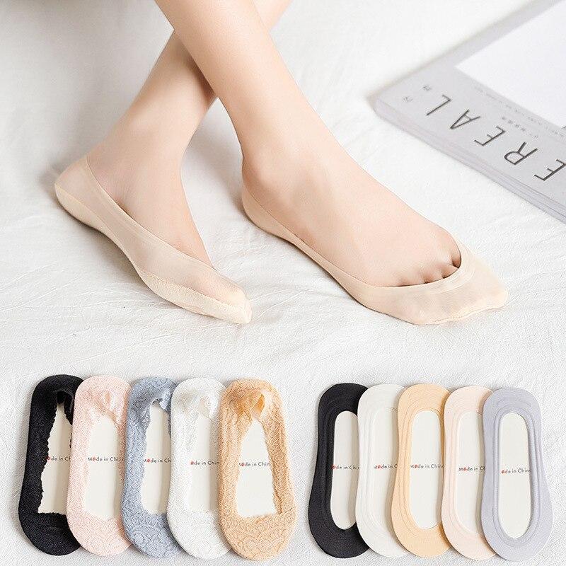 Незаметные кружевные нескользящие носки женские летние силиконовые Нескользящие носки-башмачки модные повседневные короткие носки носки ...