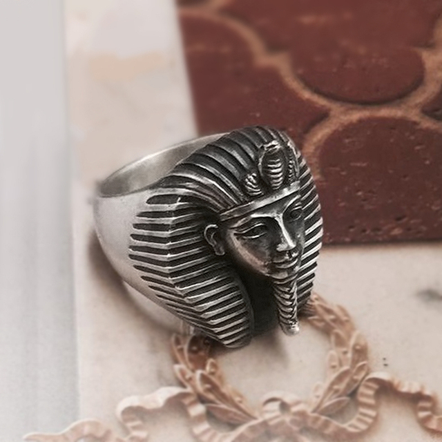 EYHIMD Vintage Egypt Tutankhamun Ring Mens Ancient Pharaoh Stainless Steel Biker Rings Egyptian Jewelry