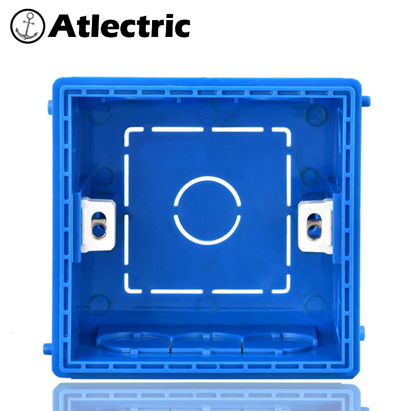Atlectric Adjustable Mounting Junction Box Internal Cassette 86 Type Switch Socket White Red Blue Wiring Back Box For EU UK