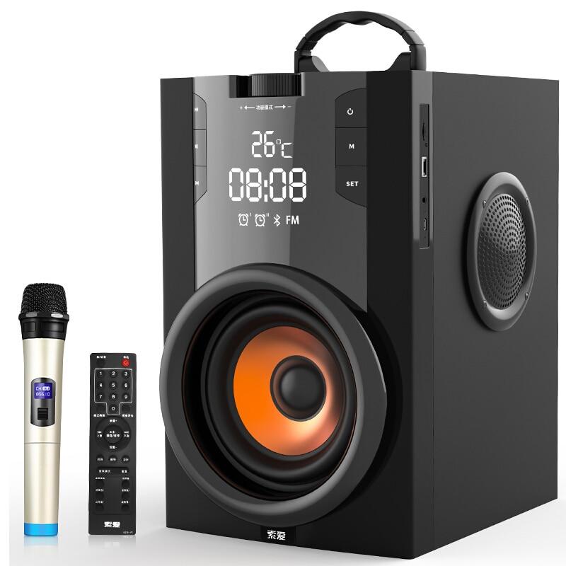 2200mAh grande puissance Bluetooth haut-parleur Subwoofer sans fil Portable lourd basse stéréo haut-parleurs lecteur de musique LCD affichage FM Radio TF