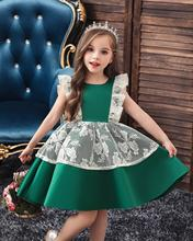 Little Girls Lace Princess Dress for Birthday Party Kids Green Ball Gown Dresses Children Clothes Baby Girl Evening Gown Costume high quality lace girl dresses children flower princess dress big girl ball gown baby kids wedding costume birthday vestidos