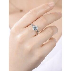 Image 4 - Classic 925 Sterling Silver moissanite Anello 1ct 2ct 3ct Taglio Brillante Rotondo Semplice di Anniversario di Aggancio Anello fine jewelry