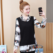 Spring and autumn new style Fashion temperament stitching printed top large size XL-5XL womens clothing