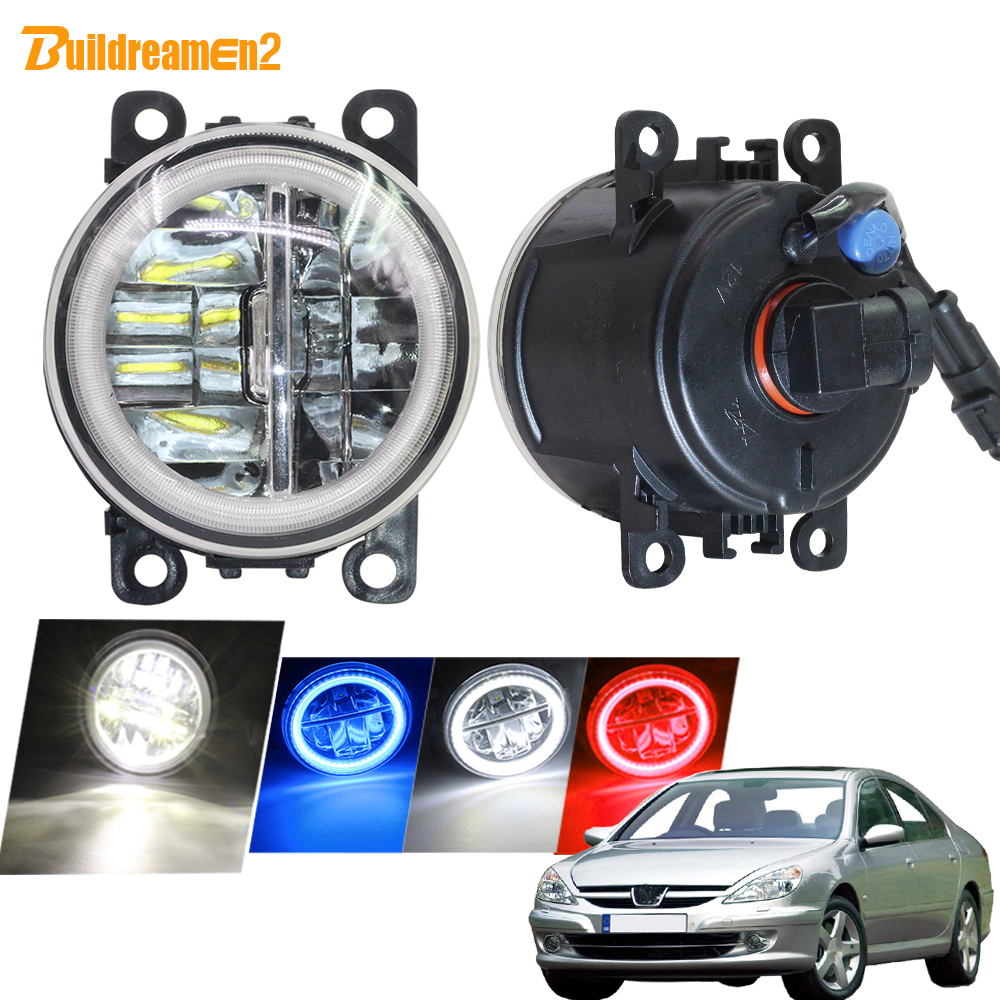 Buildreamen2 Car Styling 4000LM LED Fog Light DRL Angel Eye Daytime Running Light 12V For <font><b>Peugeot</b></font> <font><b>607</b></font> (9D, 9U) Saloon 2000-2006 image
