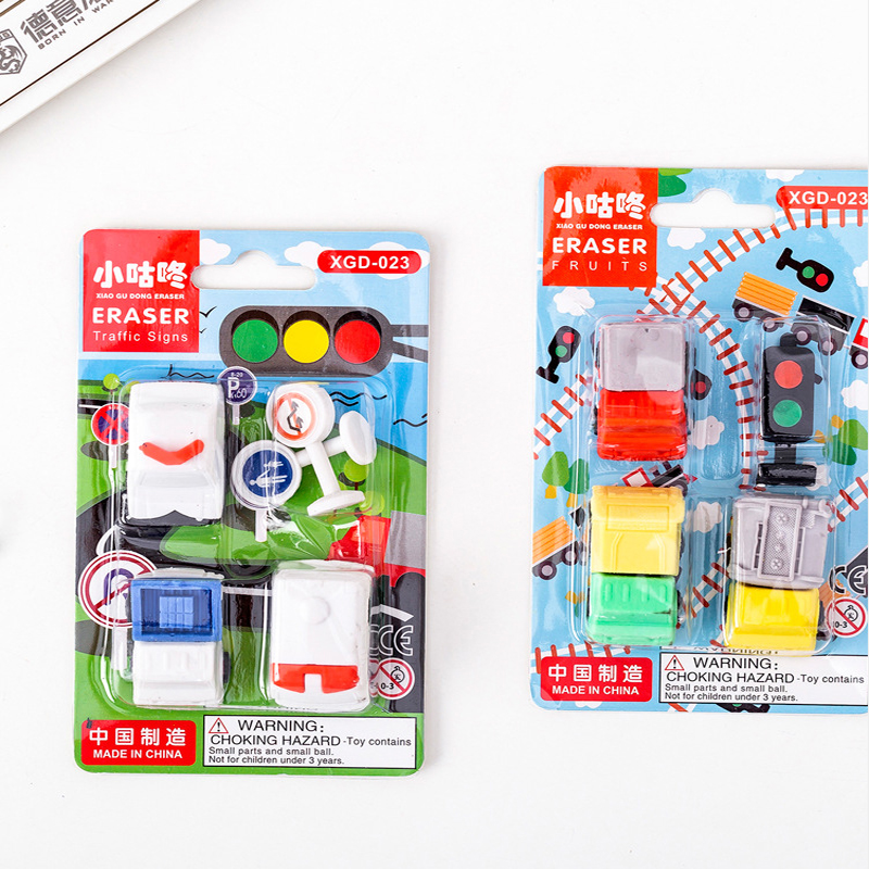 10set/lot Traffic Light Kawaii Pencil Erasers Office Supplies Stationery Truck Rubber For Kids Gift
