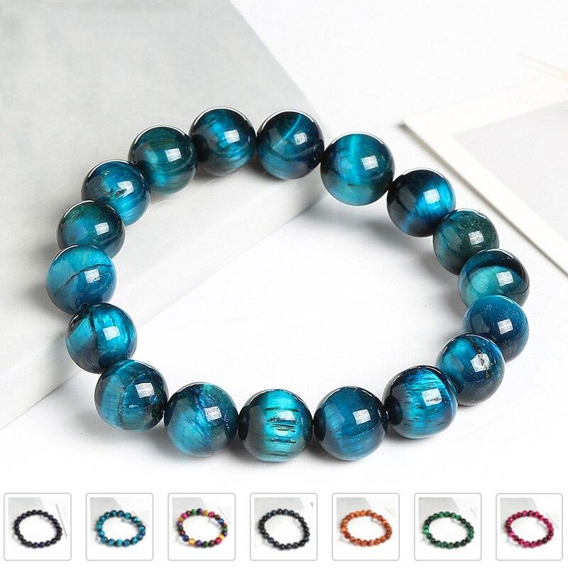 Blue Tiger Eye Buddha Bracelets for Women Natural Stone Round Beads Healing Bracelet