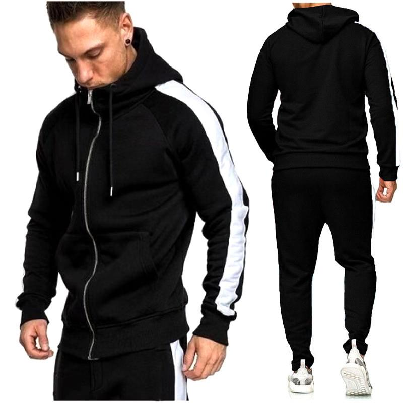 2019new Autumn And Winter Men Casual Patchwork Sport Set Long Sleeve Hooded Jacket Trousers Sport Suit Fitness Wear Jogging Suit