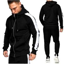 2019new Autumn And Winter Men Casual Patchwork Sport Set Long Sleeve Hooded Jacket Trousers Suit Fitness Wear Jogging