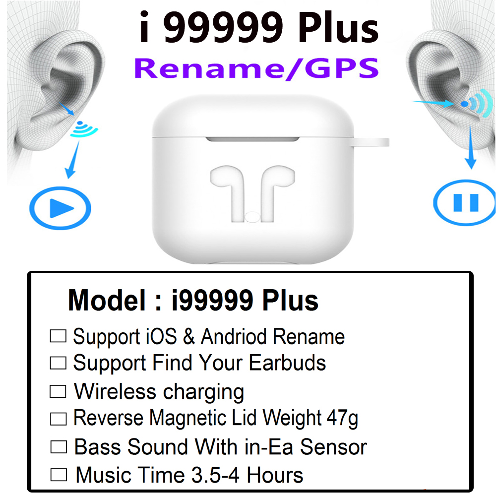 Original i99999 Plus TWS wireless headset Bluetooth 5,0 headset 10D super bass ohrstöpsel PK i9000 i7S i9 i10 i30 i60 i9000Pro