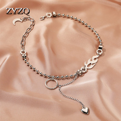 ZYZQ Particular Double-layer Bead Chain Hollow Circle Pendant Necklace for Women Simple Geometric Love Female Trendy Chokers