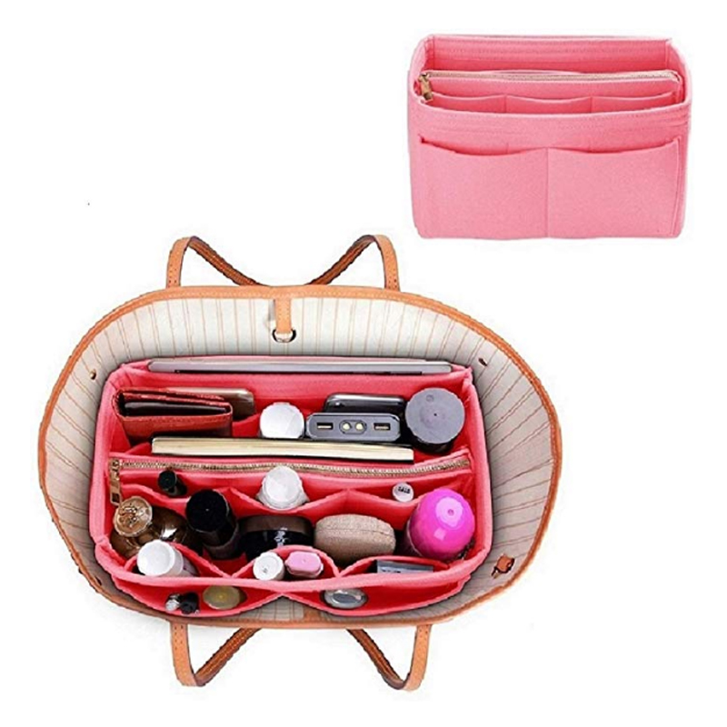 Cosmetic Bags With Zipper,Make Up Organizer Insert Bag For Handbag,Travel Portable Felt Bag Inner Purse Fits In Speedy Neverfull