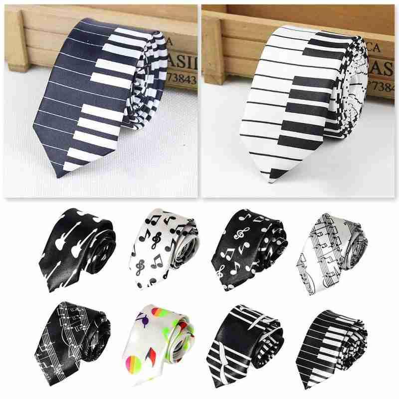 5cm Black & White Piano Keyboard Tie Male & Female Students Notes Personality Music Pattern Narrow Necktie Unisex Tide Neckties