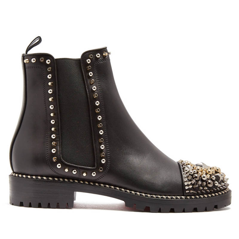 Winter Women Gothic Rivet Studded Chelsea Boots Punk Motorcycle Shoes Block Heels Genuine Leather Ankle Boots Runway Designer