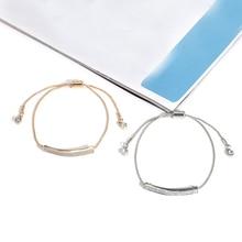 Rose Gold Color Adjustable Bracelet Bangle for Women Shinny Bar Slider Brilliant CZ Jewelry Pulseira Feminia