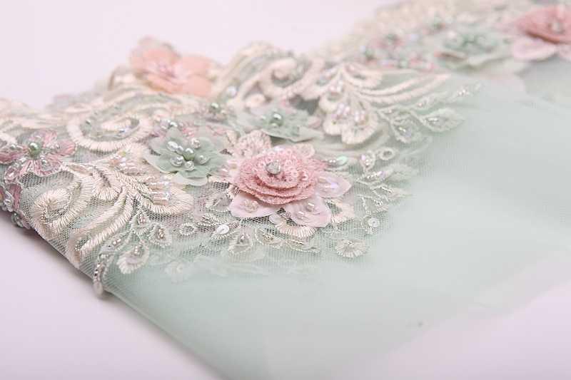 MLAEY yeşil tül dantel trim el boncuklu payetli yama düğün malzemeleri gelin saç çiçek başlığı dantel kumaş aplike