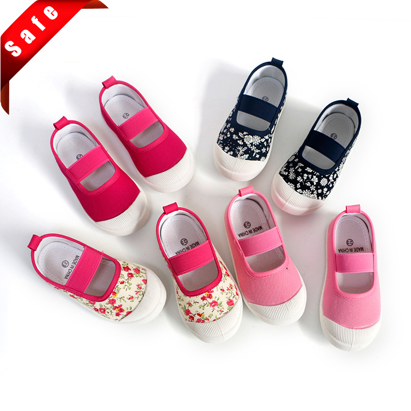 2020 New Spring Autumn Baby Girl Shoes Kids Canvas Shoes Children's Casual Sneakers Candy Color Flowers For Girls Floral Prints