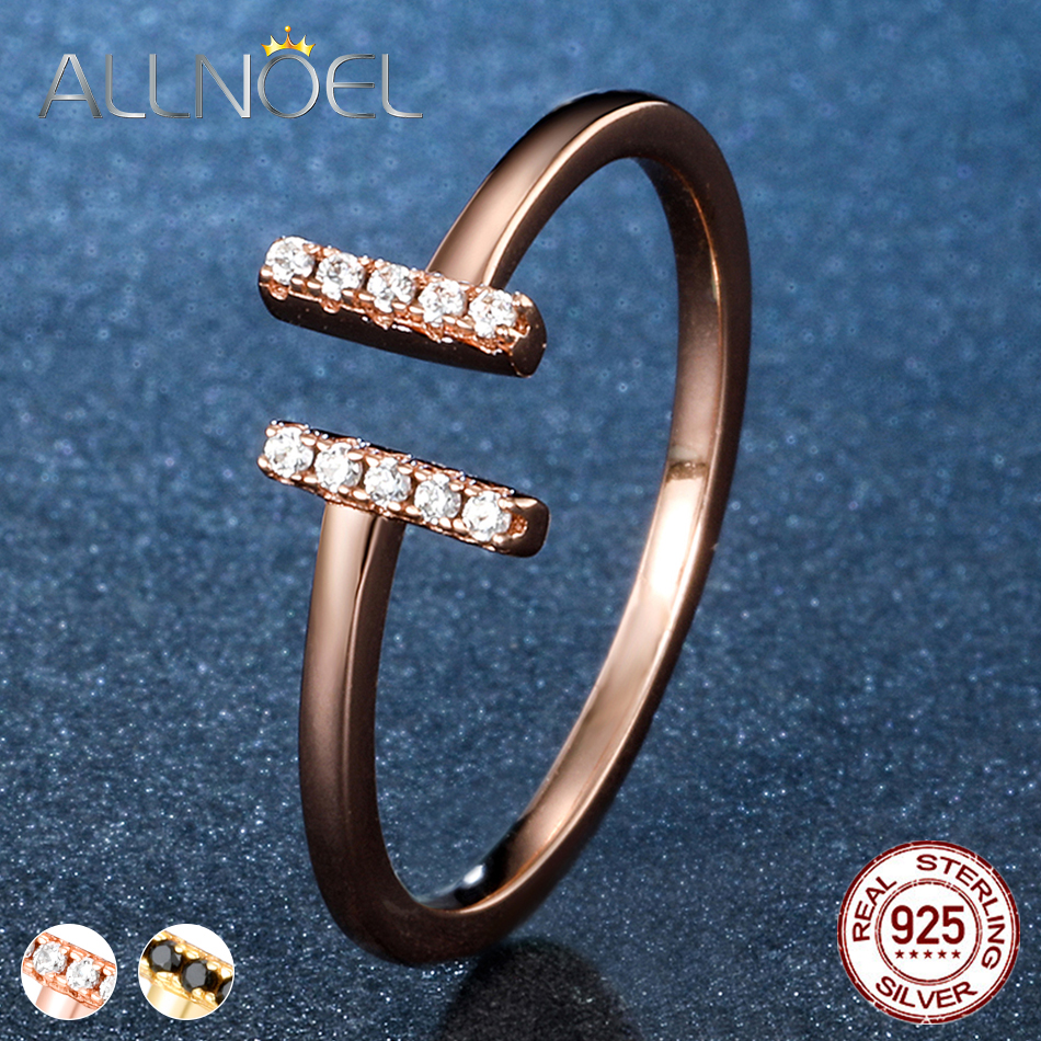 ALLNOEL 925  Sterling Silver Adjustable Rings For Women Rose Gold /Yellow Gold Color Ring Engagement Ring Silver 925 Jewelry