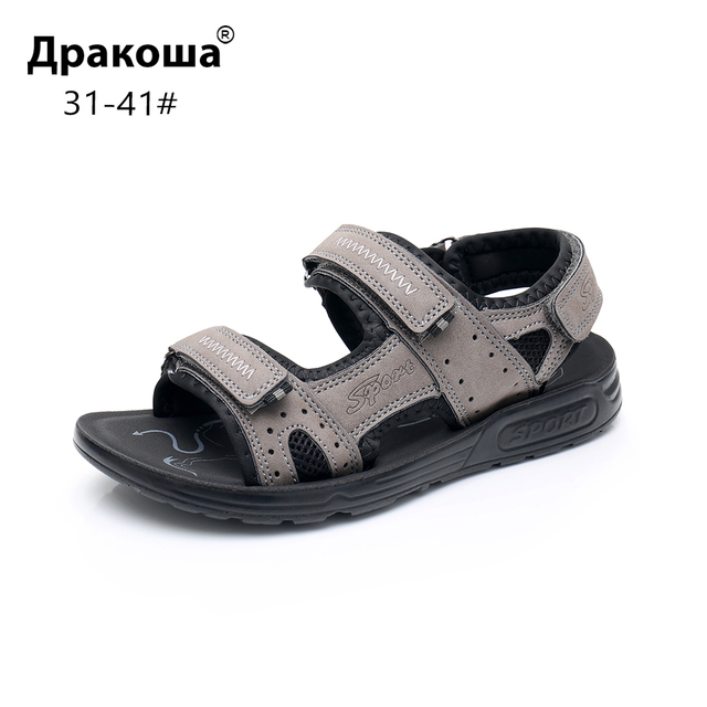 Apakowa Big Boys Summer Peep toe Ankle Strap Sandals Older Kids Beach Walking Travelling Sports Trainer Sandals Outdoor Footwear