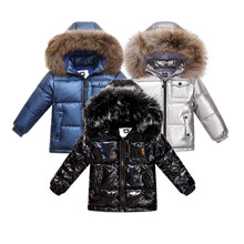 Fashion winter coat down jacket for boys clothes 2 8 y childrens clothing thicken outerwear & coats with nature fur parka kids