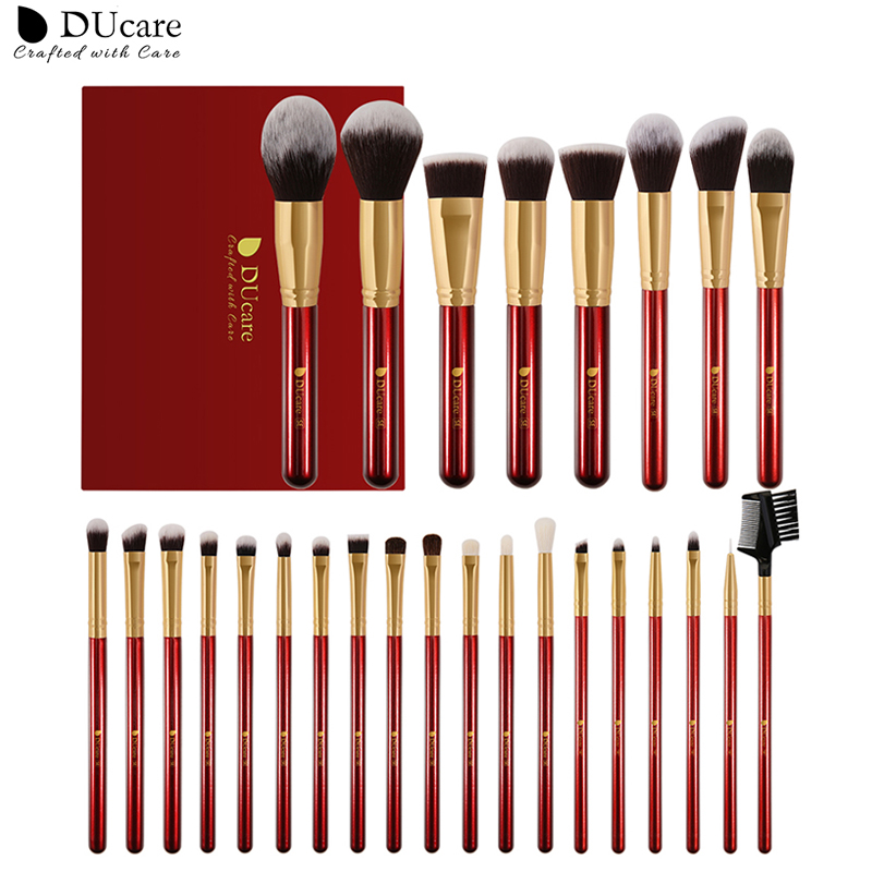 DUcare Makeup Brushes 27Pcs Classic red Professional Makeup Brush Set Premium Synthetic Goat Pony Hair Blending Brush MakeUp Kit|Eye Shadow Applicator| - AliExpress