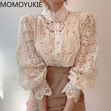 Blusa de manga longa das mulheres blusas rendas 2021 outono coreano moda branco oco para fora sexy senhora do escritório floral gola alta nova