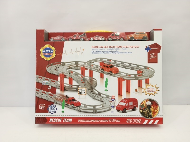 CHILDREN'S Electric Car Multilayer Assembled Rail Car Toy Electric Firefighting Race Car Boy Educational Roller Coaster