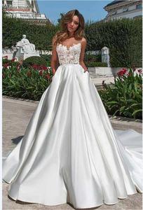 Image 2 - Prosta plaża satynowa suknia ślubna 2020 nowa suknia ślubna