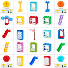 Fence Sliding Ladder Window Bricks Big Particles Building Blocks Accessory Kids Gift Toys Playmobil Compatible with Legoly Duplo(China)