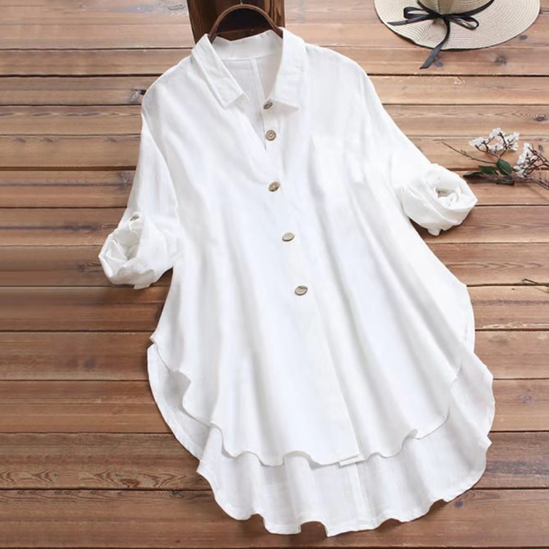 4XL 5XL Plus Size Cotton White Shirt Women Casual Turn-down Collar Long Sleeve Blouse 2020 Spring Irregular Button Tunic Tops