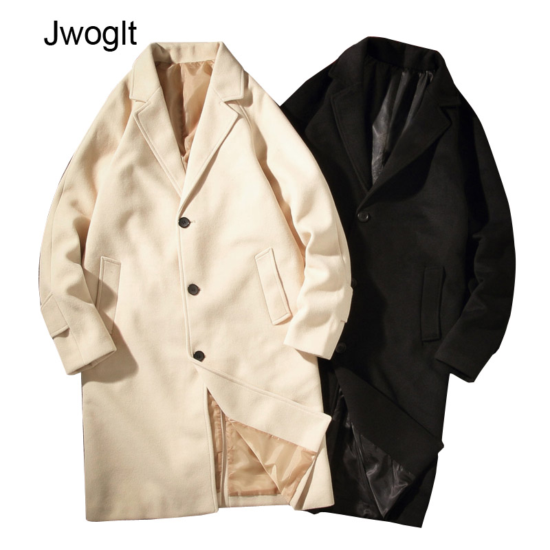Autumn New Windbreaker Men's Woolen Trench Coat Loose X-Long Business Trench Single Breasted Leisure Outerwear 4XL 5XL