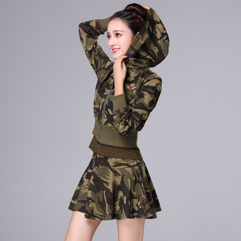 2019 Spring And Autumn New Style Slim Fit Short Skirt Yang Square Dance Costume Women's Three-piece Set Camouflage Shui Bing Fu