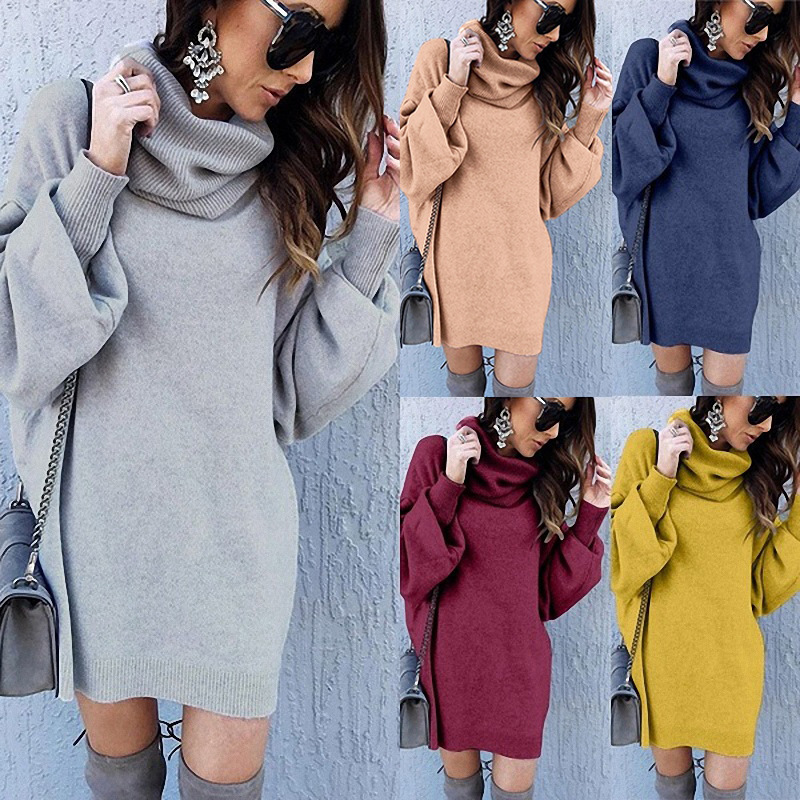 2020 New Women Warm Casual Autumn And Winter New Style Large Size Loose High Collar Long Turtleneck Solid Elegant Sweater