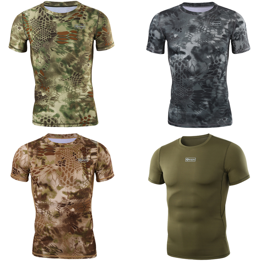 Shark Python 3D Print Short Sleeve Tactical Combat T-shirt Man Military Hunting Uniform Airsoft Camouflage Tees Clothing