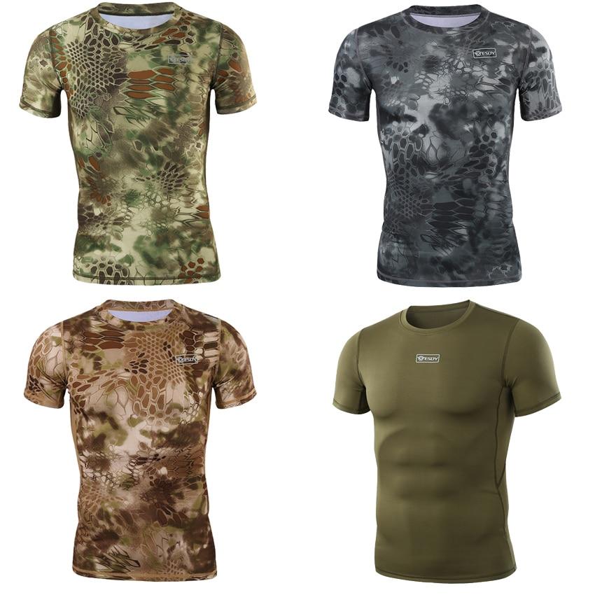 Shark Python 3D Print Short Sleeve Tactical Combat T-shirt Man Military Hunting Uniform Airsoft Camouflage Tees Clothing