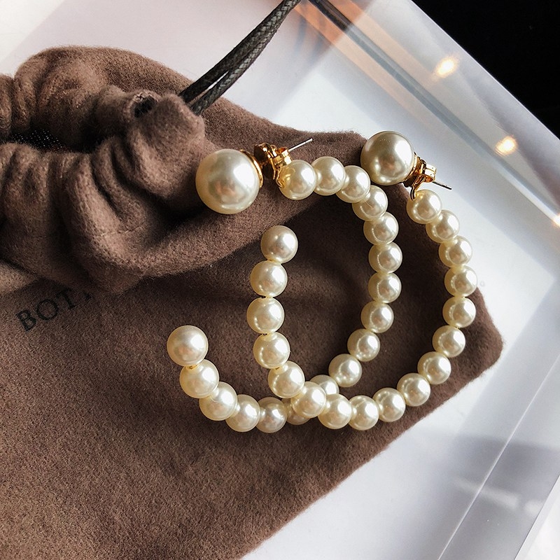 H28d94c35151b44cbadc3ba624d9ca9b3X - Fashion Simulated Pearl Statement Big Small Hoop Earrings for Women Exaggerate Circle Earrings Personality Nightclub Jewelry